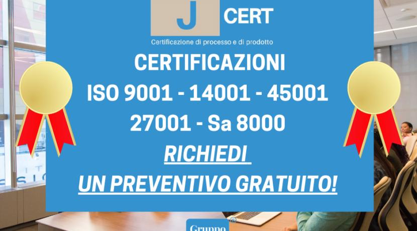 CERTIFICAZIONI ISO 9001 – 14001 – 45001 – 27001 – Sa 8000
